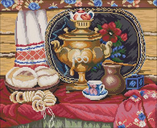 Схема для вышивания бисером `Чай с баранками` с полной зашивкой