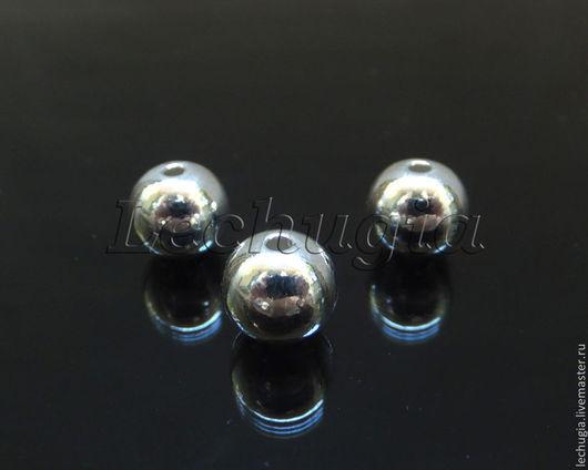 Для украшений ручной работы. Ярмарка Мастеров - ручная работа. Купить Бусина гладкая из серебра / шарик, 7 мм/. Handmade.