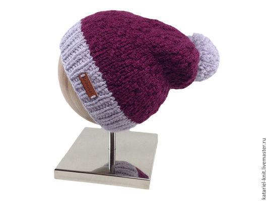 Шапки ручной работы. Ярмарка Мастеров - ручная работа. Купить Бордовая шапочка с серым помпоном. Handmade. Бордовый