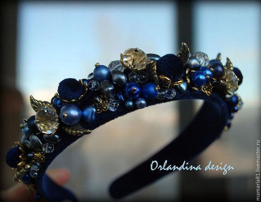 Диадемы, обручи ручной работы. Ярмарка Мастеров - ручная работа. Купить Ободок тиара в стиле Дольче - Синий бархат. Handmade.