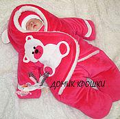 """Работы для детей, ручной работы. Ярмарка Мастеров - ручная работа Комбинезон-конверт для новорожденного """"Велюровый Мишка"""" малиновый. Handmade."""