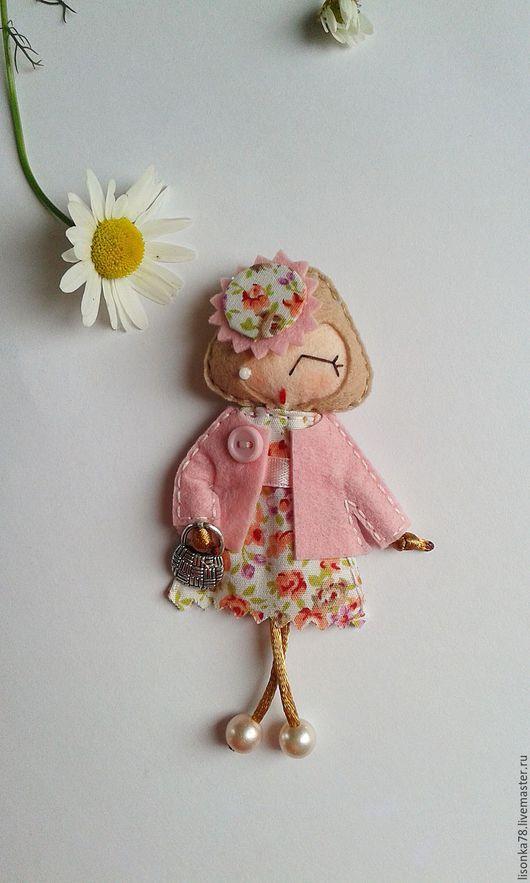 Броши ручной работы. Ярмарка Мастеров - ручная работа. Купить Брошь-куколка из фетра. Handmade. Комбинированный, броши из фетра, хлопок