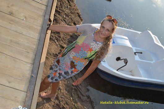 """Платья ручной работы. Ярмарка Мастеров - ручная работа. Купить Вязаное платье """"Морская звезда"""". Handmade. Комбинированный, морской стиль"""