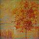 """Пейзаж ручной работы. Ярмарка Мастеров - ручная работа. Купить Картина маслом """"Янтарный закат"""" (пейзаж на большом холсте). Handmade."""