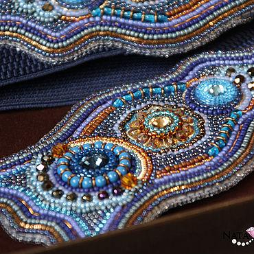 Accessories handmade. Livemaster - original item Wide belt dark blue