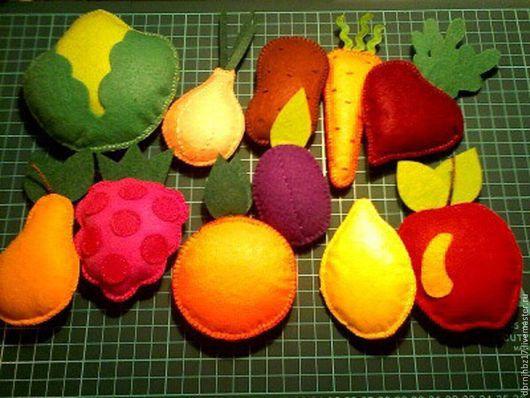 Развивающие игрушки ручной работы. Ярмарка Мастеров - ручная работа. Купить ОВОЩИ И ФРУКТЫ. Handmade. Разноцветный, развитие детей