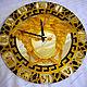 Часы для дома ручной работы. Заказать Часы настенные круглые зеркальные Версаче (Греция)черный с золотом. Элеонора Саунина (Ella-handmade). Ярмарка Мастеров.