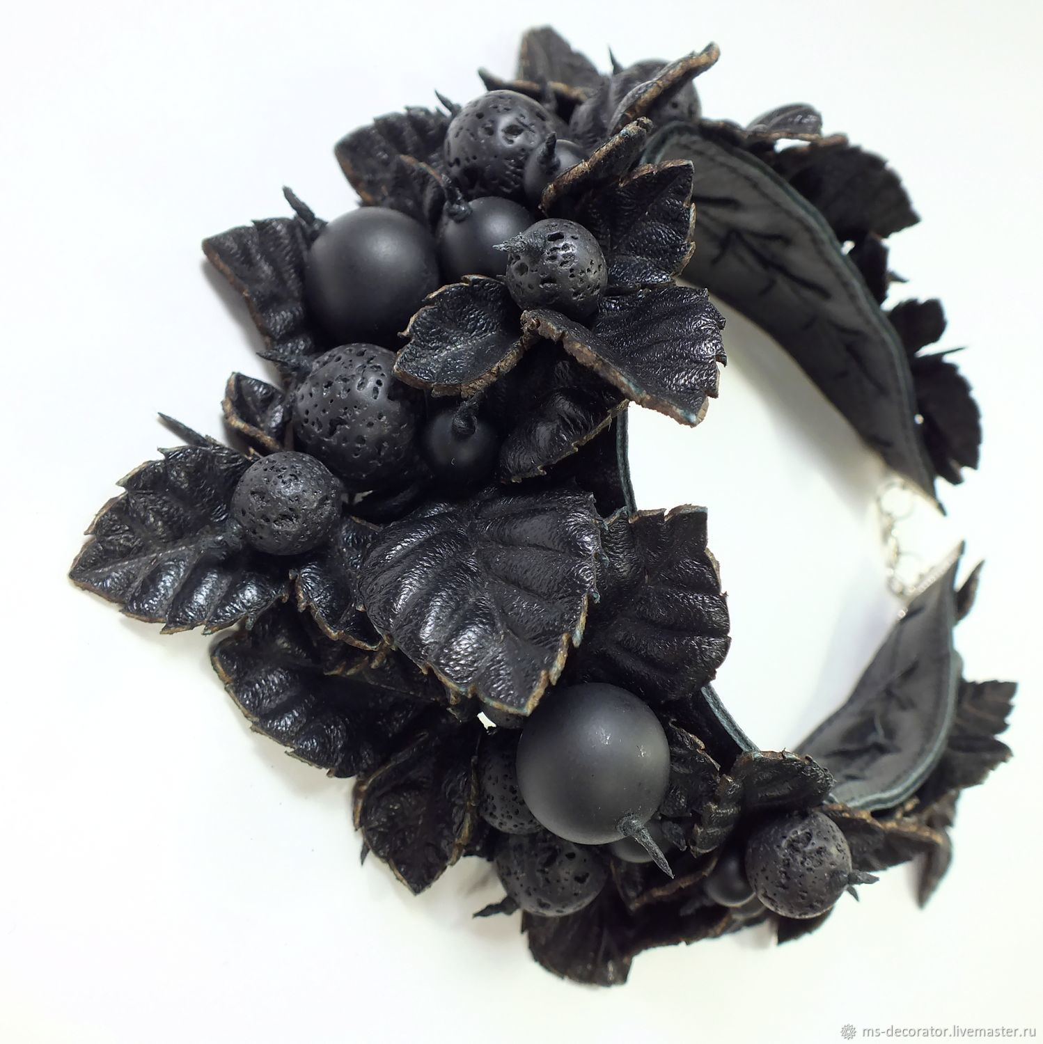 Night of the Black Berry Necklace made of genuine leather, agate, shungite and lava, Necklace, St. Petersburg,  Фото №1