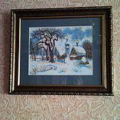 """Картины ручной работы. Ярмарка Мастеров - ручная работа Картина """"Зима"""" бисер. Handmade."""