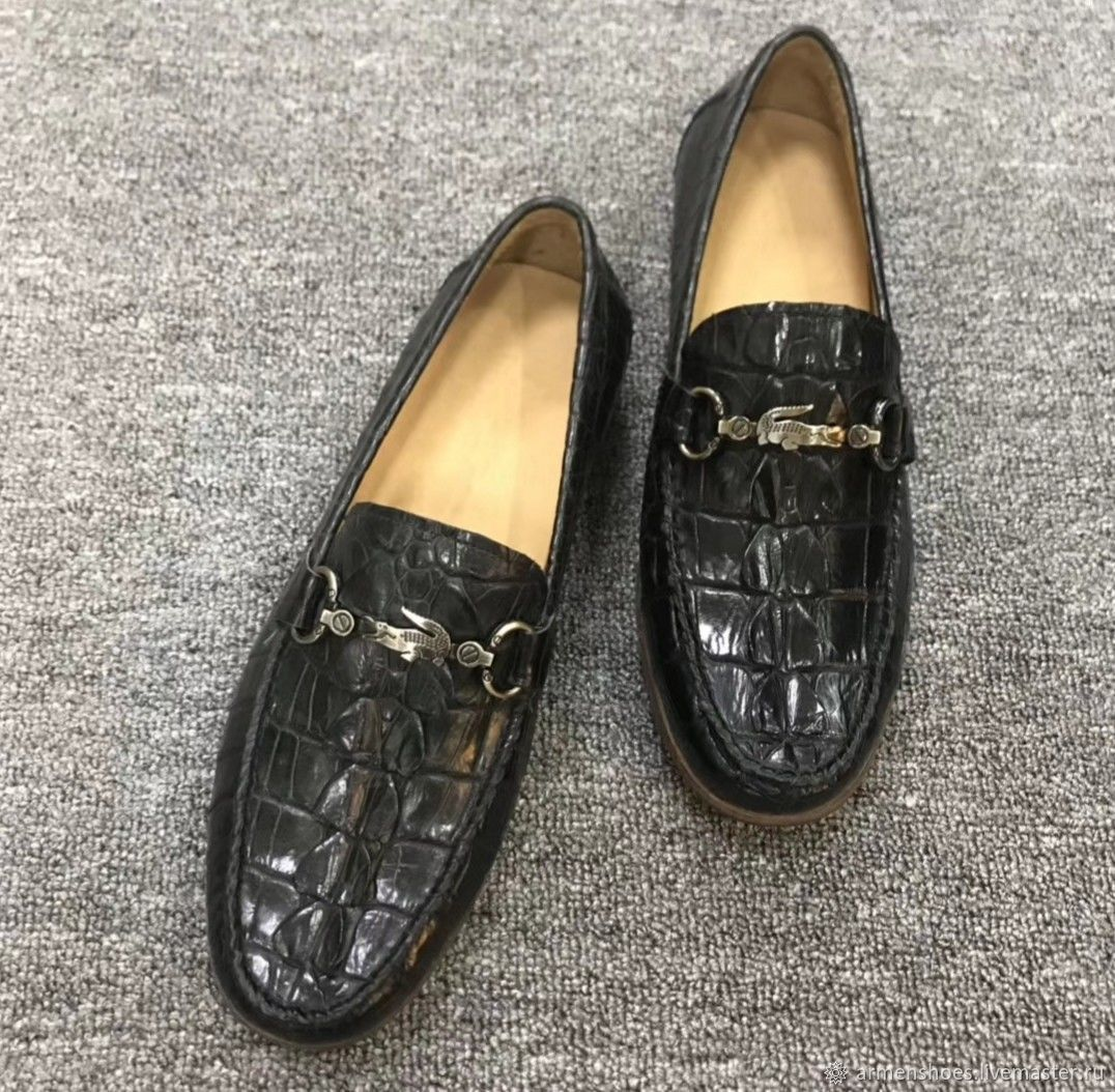 Loafers for men, made of crocodile skin tail, color black, Loafers, Tosno,  Фото №1