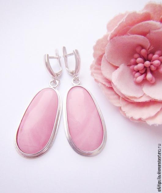 """Серьги ручной работы. Ярмарка Мастеров - ручная работа. Купить Серьги """" Сream rose"""" -розовый опал,серебро 925. Handmade."""