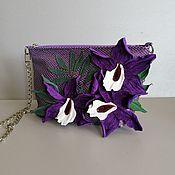 Сумки и аксессуары handmade. Livemaster - original item Leather bag .Bag with applique.Mini Orchids Purple. Handmade.