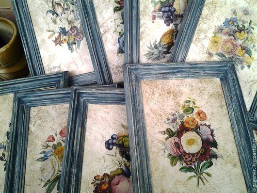 Картины цветов ручной работы. Ярмарка Мастеров - ручная работа. Купить Картины большие 8 шт в  серо-голубых багетах Тоскана.Цветы PF0090. Handmade.