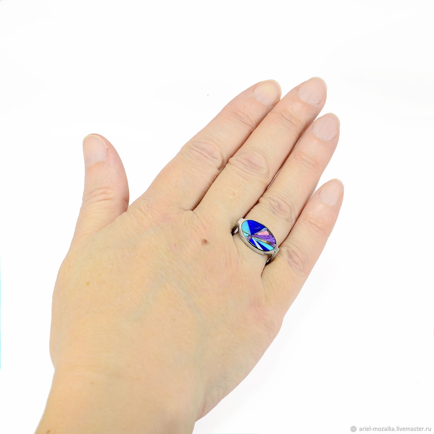 Ring oval. Turquoise, Lapis Lazuli, Charoite. Ring size 18.0, Rings, Moscow,  Фото №1