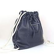 Рюкзаки ручной работы. Ярмарка Мастеров - ручная работа Синий Рюкзак Мешок кожаный маленький с карманом. Handmade.