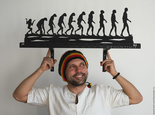 """Мебель ручной работы. Ярмарка Мастеров - ручная работа. Купить Полка """"Эволюция"""". Handmade. Черный, развитие, юмор, гвозди"""