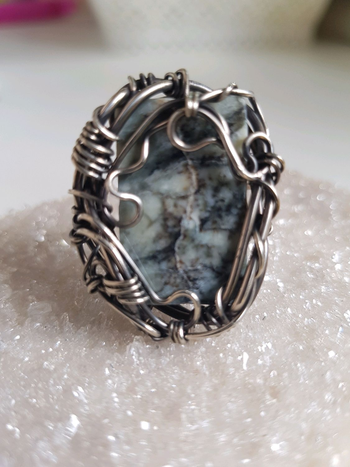 Ring with dianite (richterite) gray, Rings, Voronezh,  Фото №1