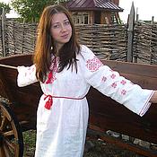 Одежда ручной работы. Ярмарка Мастеров - ручная работа Женское славянское платье с обережной вышивкой. Handmade.