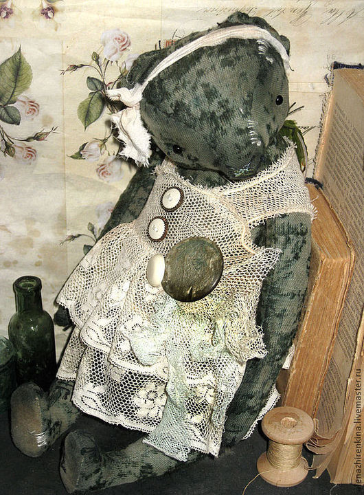 Мишки Тедди ручной работы. Ярмарка Мастеров - ручная работа. Купить Зелёный чай. Handmade. Зеленый, Плюшевый мишка, антик