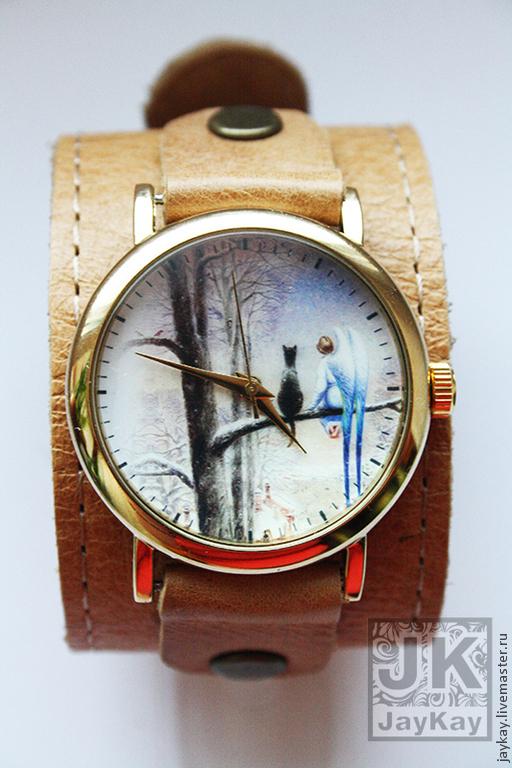 """Часы ручной работы. Ярмарка Мастеров - ручная работа. Купить Часы наручные JK """"Ангел и кот"""" на широком ремешке. Handmade."""