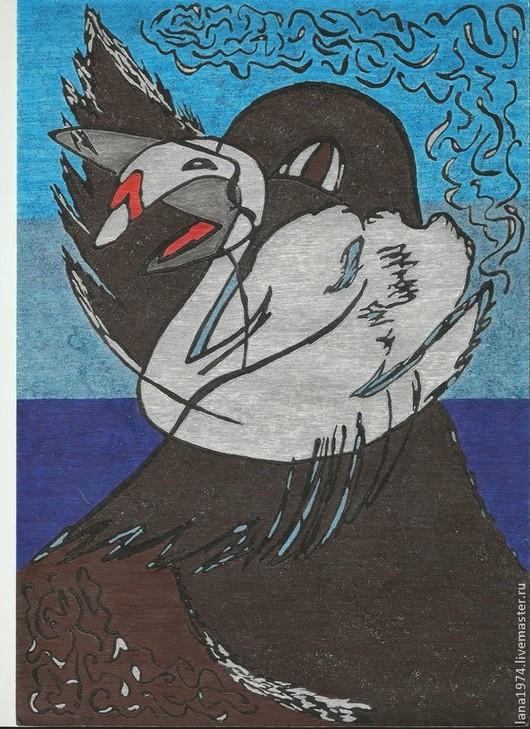 Абстракция ручной работы. Ярмарка Мастеров - ручная работа. Купить Темное и белое. Handmade. Лебедь, сказочные персонажи, ручная работа