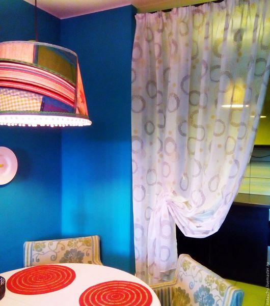 Текстиль, ковры ручной работы. Ярмарка Мастеров - ручная работа. Купить Полупрозрачная штора с симпатичными кругами. Handmade. Белый