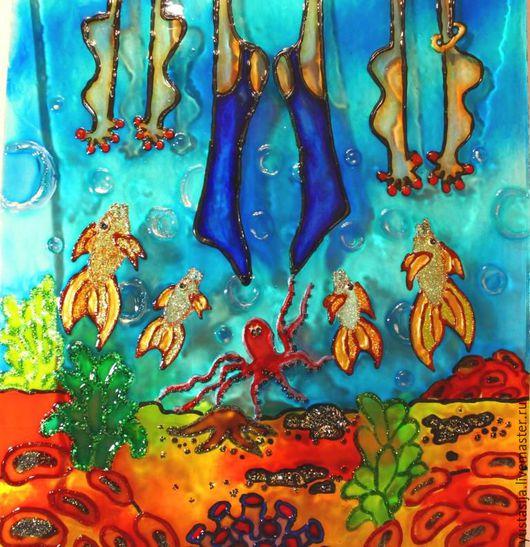 Люди, ручной работы. Ярмарка Мастеров - ручная работа. Купить Картина на стекле На море )). Handmade. Витражная роспись