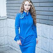 Одежда handmade. Livemaster - original item Jersey dress with bow and lace - blue. Handmade.