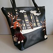 Сумки и аксессуары handmade. Livemaster - original item Leather bag. Shopping bag Winter in the big city. black. Handmade.