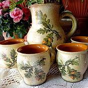 """Посуда ручной работы. Ярмарка Мастеров - ручная работа Керамический набор """"Дубок"""" (Кувшин и 4 чашки). Handmade."""