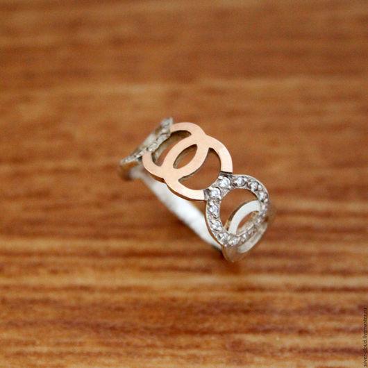 Кольца ручной работы. Ярмарка Мастеров - ручная работа. Купить Серебряное кольцо Олимпия с золотыми накладками, серебро 925 пробы. Handmade.