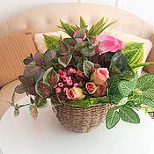 Цветы и флористика handmade. Livemaster - original item Mini garden of artificial flowers in a basket. Handmade.