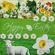 Материалы для творчества handmade. Livemaster - original item 18pcs Napkins for decoupage Easter meadows lamb caplen flowers eggs. Handmade.