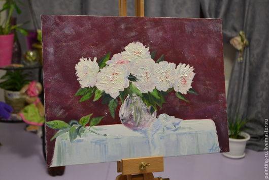 """Картины цветов ручной работы. Ярмарка Мастеров - ручная работа. Купить Картина маслом """"Пионы в вазе"""". Handmade. Бордовый, белый"""