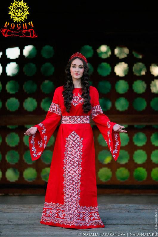 Льняное обережное  платье `Княжна`. 100% лён. Вышивка крестом.