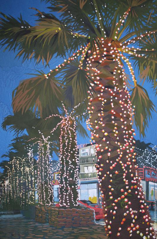 """Город ручной работы. Ярмарка Мастеров - ручная работа. Купить """"Лазаревское. Ночь"""". Handmade. Тёмно-синий, картина, пальмы, город"""