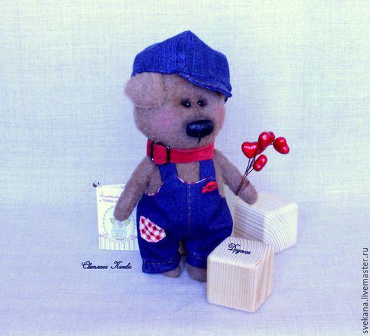 Мишки Тедди ручной работы. Ярмарка Мастеров - ручная работа. Купить Тэдди пёсик Дружок. Handmade. Тёмно-синий, кожа