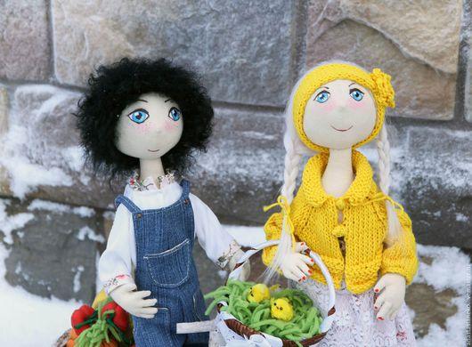 Человечки ручной работы. Ярмарка Мастеров - ручная работа. Купить Mary&Sam - Farm Stories. Handmade. Комбинированный, козья шкурка, хлопок