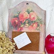 """Для дома и интерьера ручной работы. Ярмарка Мастеров - ручная работа Доска для записок """"Букет роз"""". Handmade."""