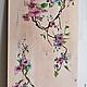 картина панно на дереве роспись акрилом ветка ветвь цветы сакуры цветы сакура, картина для кухни, девочки, спальни девочки, будуара
