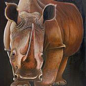 """Картины и панно ручной работы. Ярмарка Мастеров - ручная работа """"Носорог"""". Handmade."""