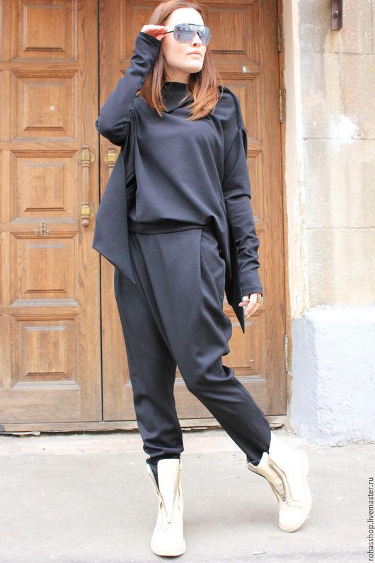 R00061 Брюки черные на запах  свободные стиль красивая одежда дизайнерские брюки с мотней дизайнерские брюки свободные брюки на каждый день спортивные брюки