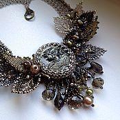 "Necklace handmade. Livemaster - original item Колье с камеей ""Поздняя осень"".. Handmade."