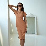 Одежда handmade. Livemaster - original item Beige dress made of Cinnamon cotton lining, loose brown. Handmade.