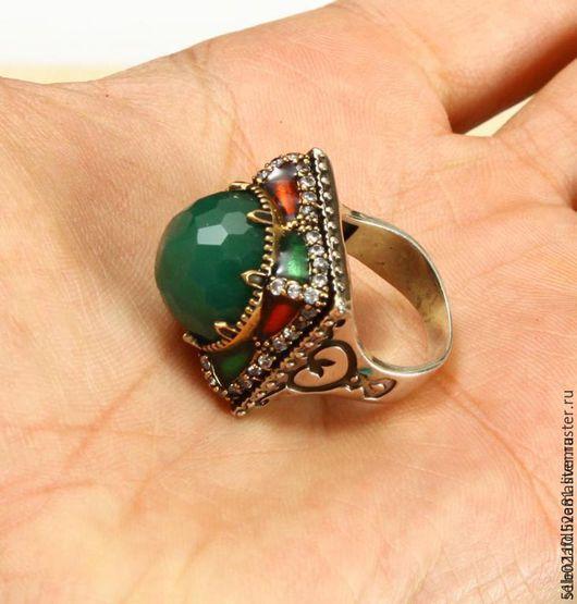 """Кольца ручной работы. Ярмарка Мастеров - ручная работа. Купить Крупное кольцо """"Падишах"""". Handmade. Тёмно-зелёный, перстень с камнем"""