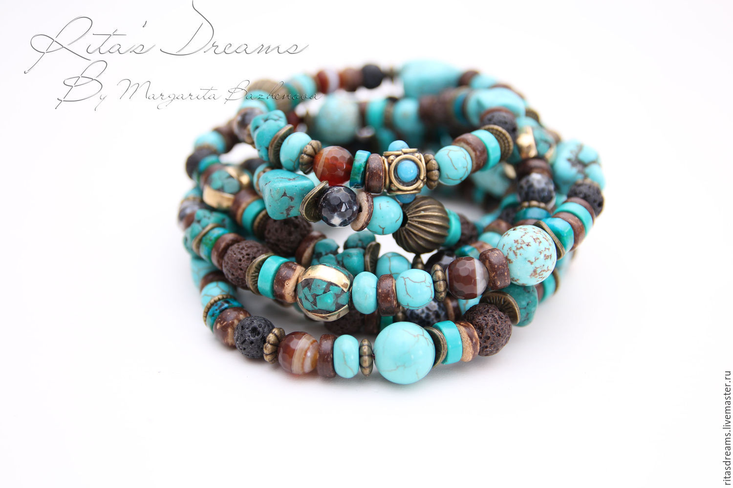 Very long (160 cm) turquoise brown beads made of natural stones, volcanic lava, coconut and Tibetan brass beads, inlaid with turquoise and enamel.