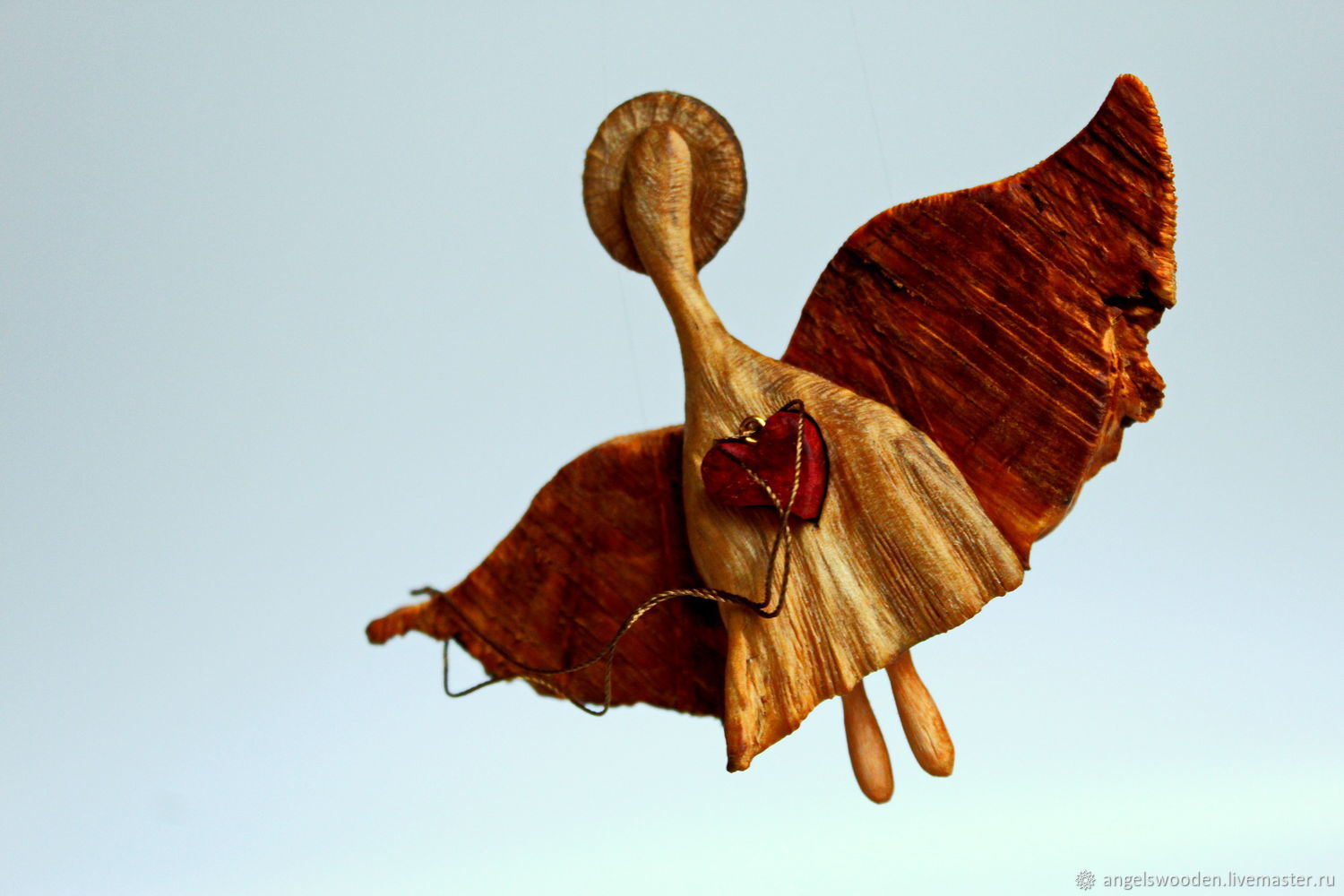 Angel Has Thrown. Figurine carved from wood, Christmas gifts, Pushkino,  Фото №1