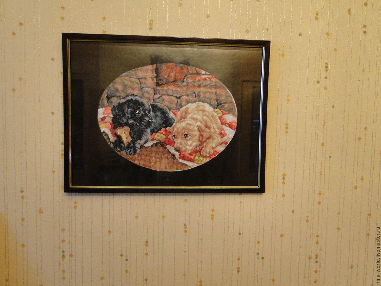 "Щенки лабрадора у камина ""Джим и Бим"", Картины, Санкт-Петербург, Фото №1"