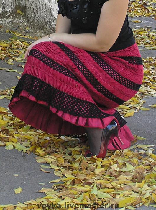Вязанье на вилке юбки