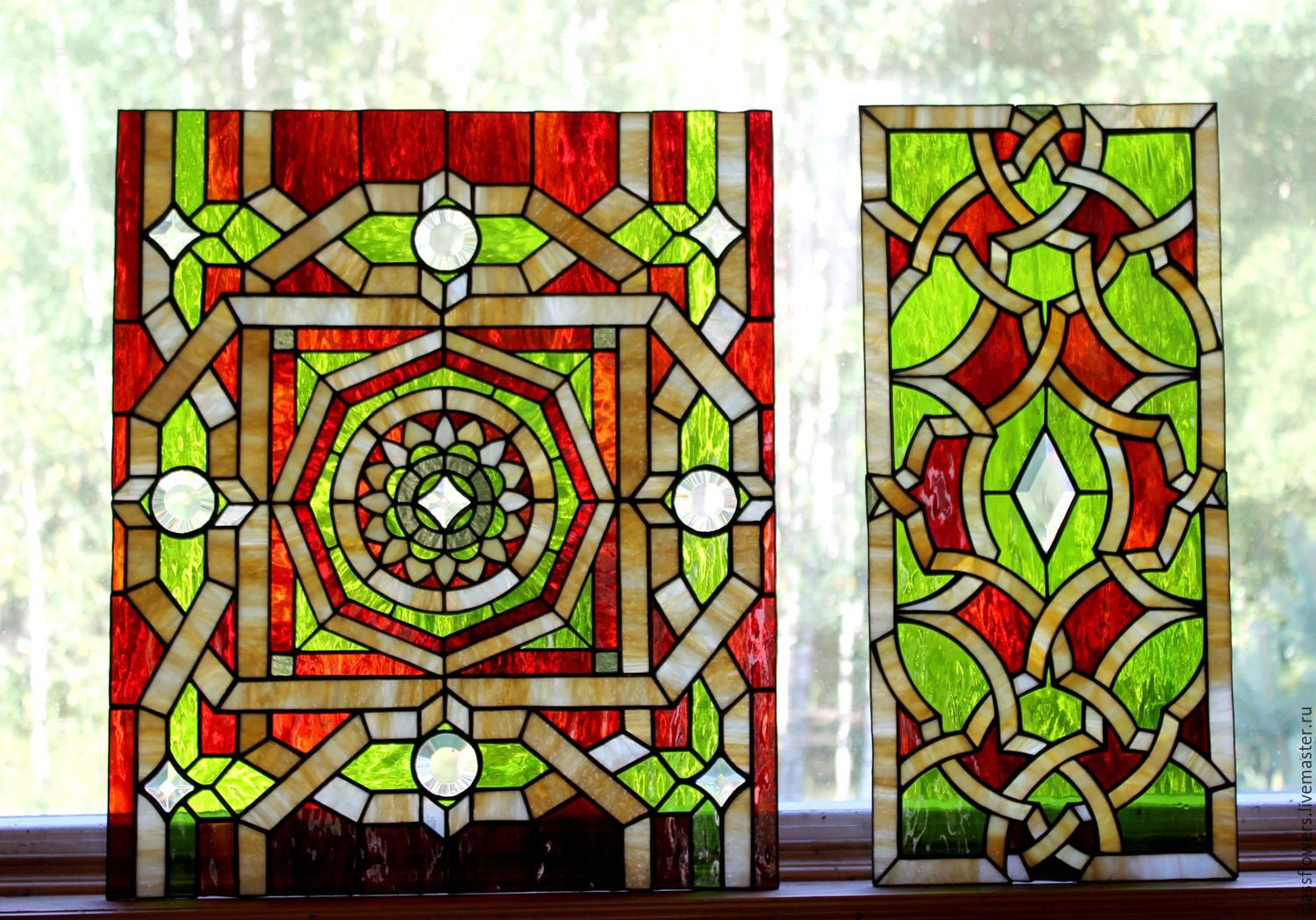 Stained Glass Tiffany. Geometric pattern. Stained glass in the door ...
